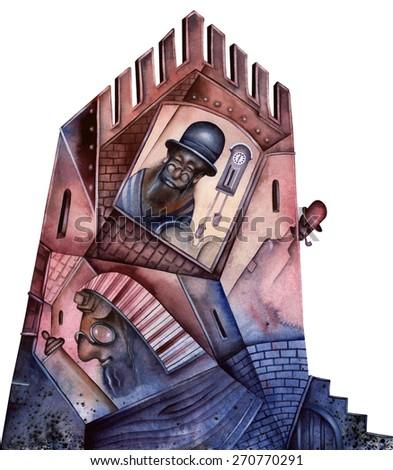 Synagogue illustration - stock photo