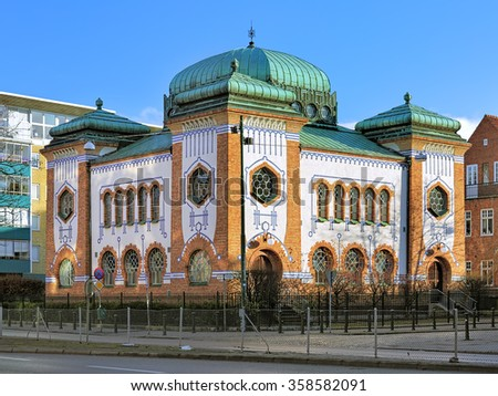 Synagogue in Malmo in Art Nouveau and Moorish Revival style, Sweden - stock photo
