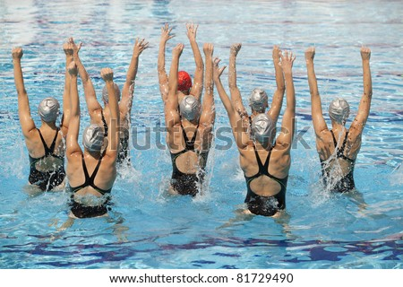 Synchronized swimmers - stock photo