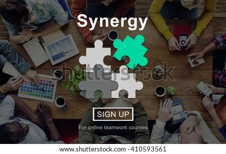 Synergy Collaboration Cooperation Teamwork Concept - stock photo
