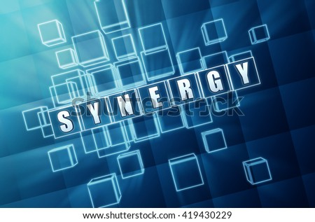 synergy - text in blue glass cubes with white letters 3D illustration, business teamwork connection concept word