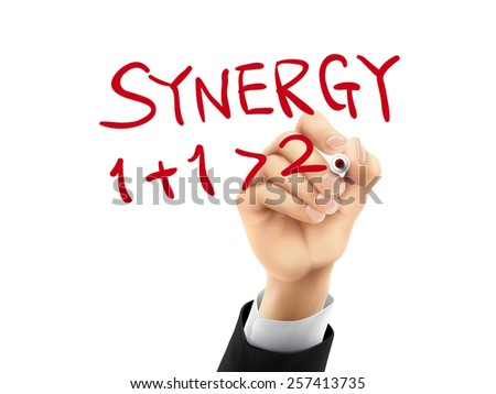 synergy word written by hand on a transparent board - stock photo