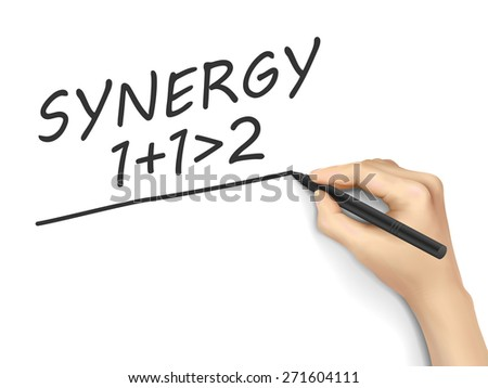 synergy word written by hand on white background - stock photo