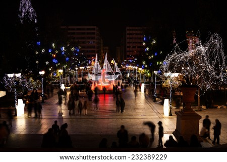 Syntagma Square during Christmas night in Athens - stock photo