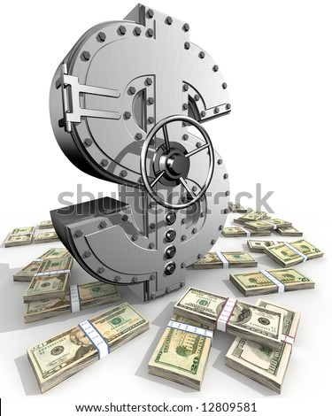 Synthesis from dollar symbol and banking safe - stock photo