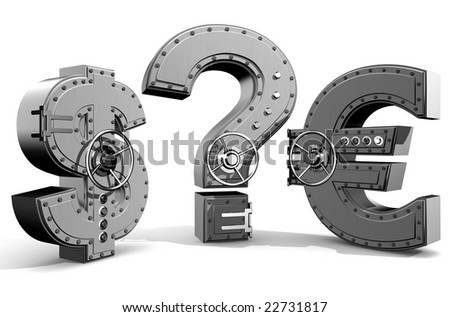 Synthesis from money symbols and banking safes - stock photo