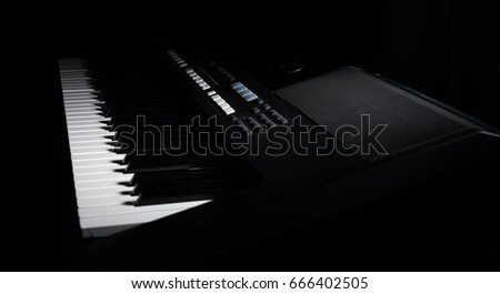 Synthesizer on a dark background