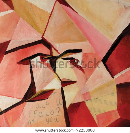 synthetic cubism showing a face at different angles acrylic and oil painting - stock photo