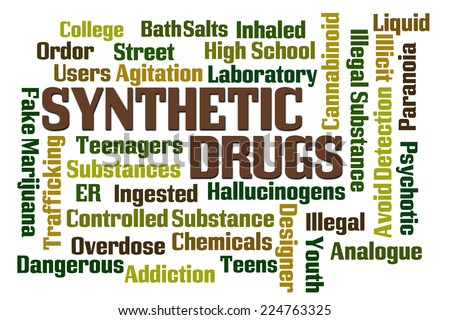Synthetic Drugs word cloud on white background - stock photo