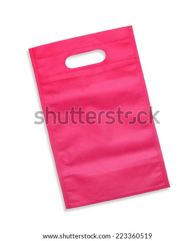 Synthetic fabric bag isolated on white background - stock photo