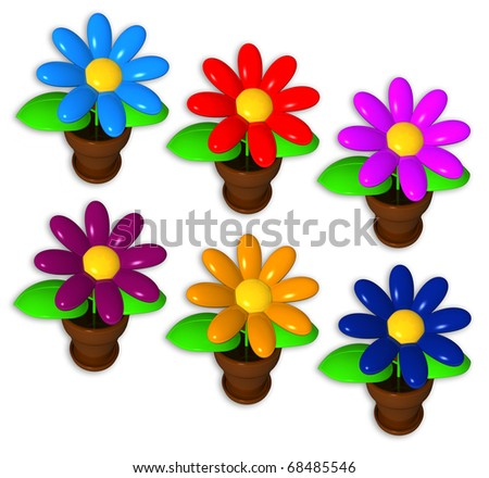 synthetic flowers on the white background, different colors, isolated - stock photo