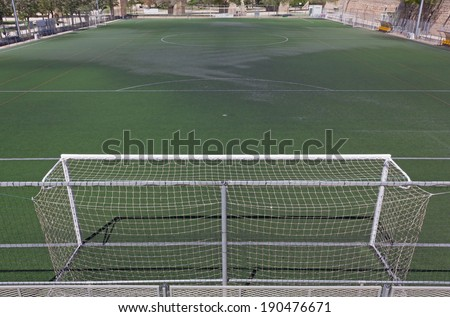 Synthetic Grass Soccer Field - stock photo