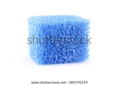 Synthetic sponge filter close-up isolated on white - stock photo