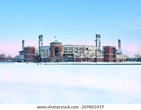 Syracuse, New York, USA. February 18, 2015. View of the NBT Bank Stadium , home of the Syracuse Chiefs minor league baseball team, in wintertime - stock photo