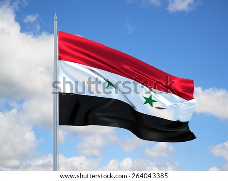 Syria 3d flag floating in the wind with a blue sky in the background - stock photo