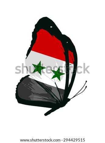 Syria flag butterfly - stock photo