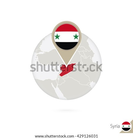 Syria map and flag in circle. Map of Syria, Syria flag pin. Map of Syria in the style of the globe. Raster copy. - stock photo