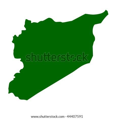 Syria map isolated on white background. - stock photo