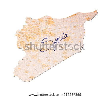 Syria - Old paper with handwriting, blue ink - stock photo