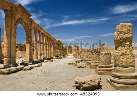 Syria. Palmyra (Tadmor). The central part of the Great Colonnade leading along main street. This site is on UNESCO World Heritage List - stock photo