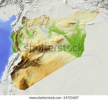 Syria. Shaded relief map with major urban areas. Surrounding territory greyed out. Colored according to elevation. Includes clip path for the state area. Data source: NASA - stock photo