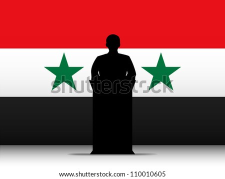 Syria  Speech Tribune Silhouette with Flag Background