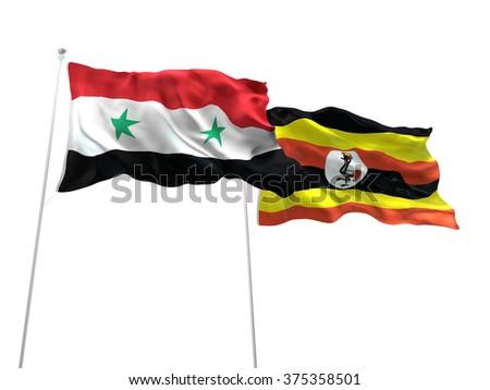 Syria & Uganda Flags are waving on the isolated white background - stock photo