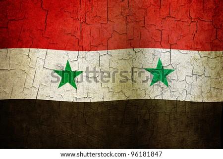 Syrian flag on a cracked grunge background - stock photo