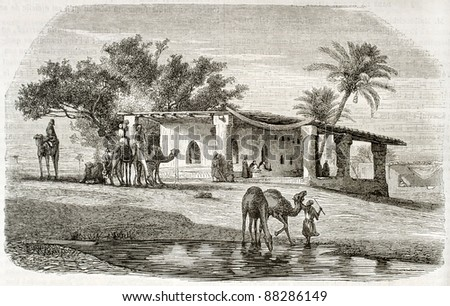 Syrian scenery old illustration. Created by Erere and Montigneul after Marilhat, published on Magasin Pittoresque, Paris, 1844 - stock photo