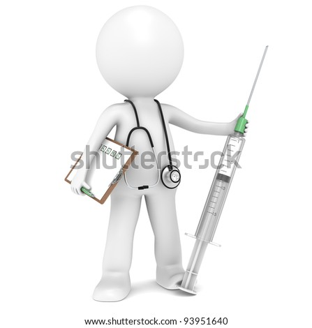 Syringe. 3D little human character The Doctor with a Syringe. People series. - stock photo