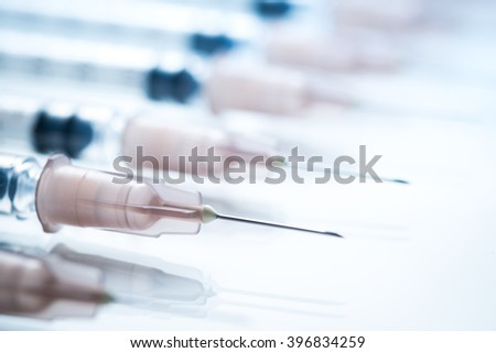 syringe for injection on white background