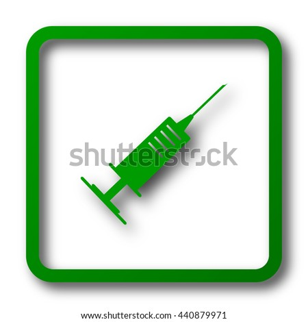 Syringe icon. Internet button on white background.