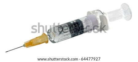 Syringe on white background. Included clipping path. - stock photo