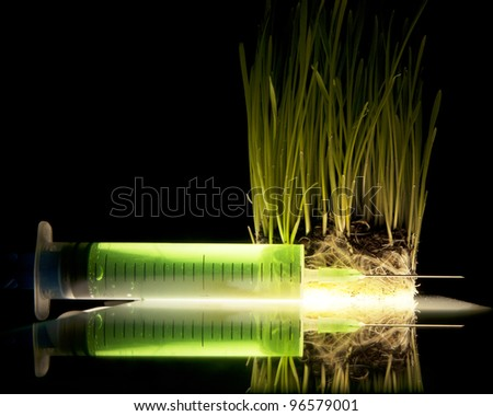 syringe with a green liquid is reflected near the grass