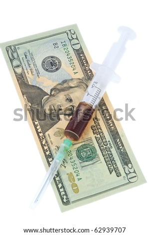 syringe with the dose of drugs and twenty dollars