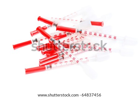 Syringes for the people sick of a diabetes - stock photo