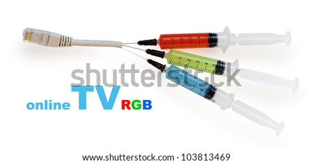 syringes with colored liquid stuck to the wire