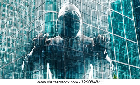 System admin protection attack by hacker - stock photo