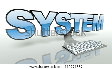 System concept with computer and keyboard - stock photo