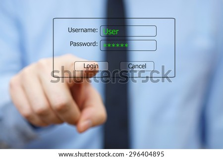 system Engineer pushing log on  button on virtual display - stock photo