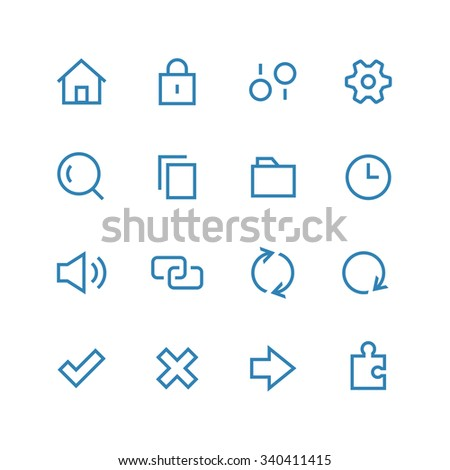 System icon set. Different symbols on the white background. - stock photo