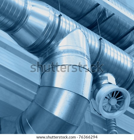 System of ventilating pipes - stock photo