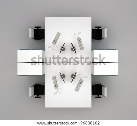 System office desks. Isolated on gray background. Top view