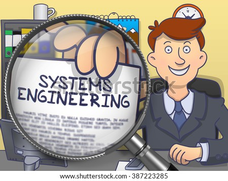 Systems Engineering. Young Man Welcomes in Office and Showing a Paper with Text through Lens. Colored Modern Line Illustration in Doodle Style. - stock photo