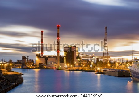 Szczcecin,Poland-September 2016:industrial areas on the waterfront of the river, power plant, the repair yard