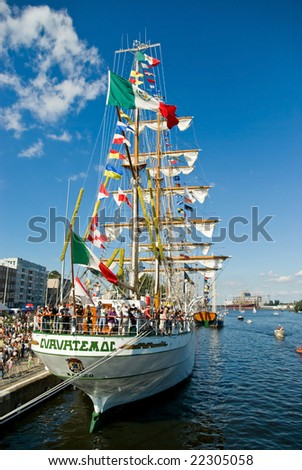 SZCZECIN, POLAND - AUGUST 4: ARM Cuauhtemoc on Tall Ships Races 2007 Final. August 4, 2007 in Szczecin, Poland. - stock photo