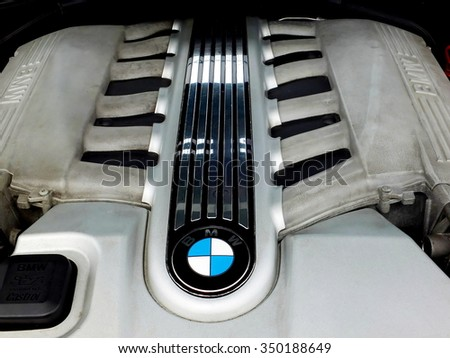 SZCZECIN, POLAND - May 16, 2015: Detail on motor of BMW  in Szczecin, Poland 16 May 2015. BMW is a German carmaker producing passenger cars, motorcycles, scooters and engines since 1916.