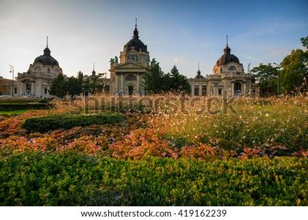 Szechenyi Baths in Budapest - stock photo