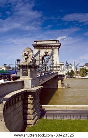 Szechenyi Bridge in Budapest on the Danube River. - stock photo