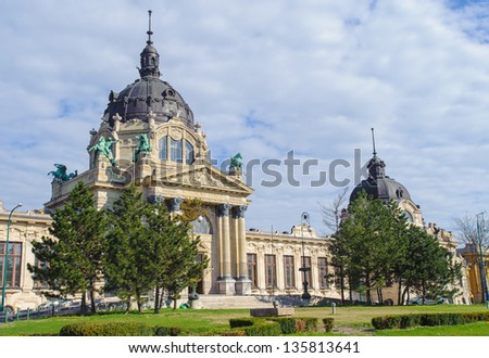 Szechenyi Medicinal Bath in Budapest, Hungary, the largest medicinal bath in Europe. - stock photo